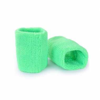 Foute pols zweetbandjes neon groen voor volwassenen 2 stuks kleding
