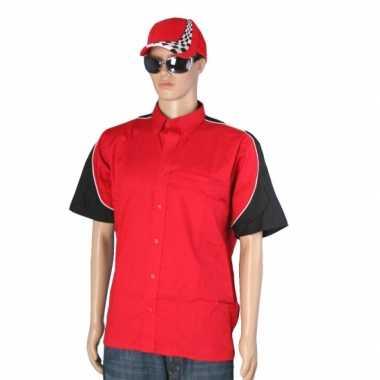 Foute race shirt rood met race cap maat l kleding