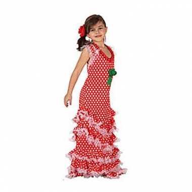 Foute rode lange kinderjurk met witte stippen kleding