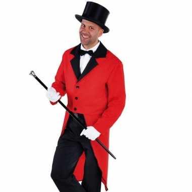 Foute rode slipjas met zwarte hoge hoed kleding