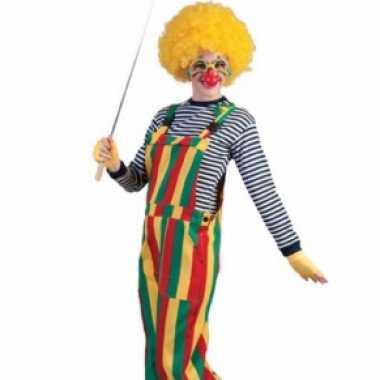 Foute rood, geel en groene carnaval tuinbroek. kleding
