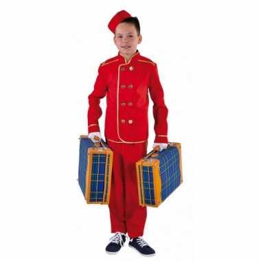 Foute rood hotelbediende pak voor kinderen kleding