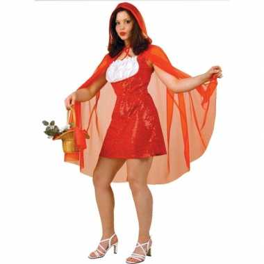 Foute roodkapje jurk voor dames met rode pailletten en cape kleding