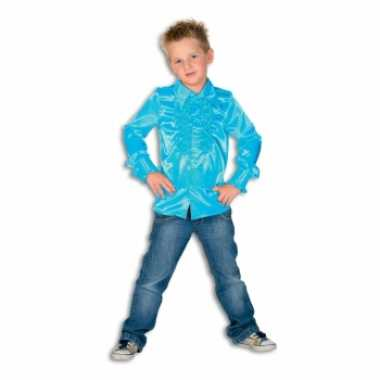 Foute rouche blouse jongens turquoise blauw kleding