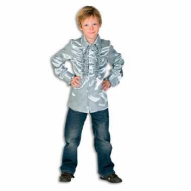 Foute rouche blouse jongens zilver kleding