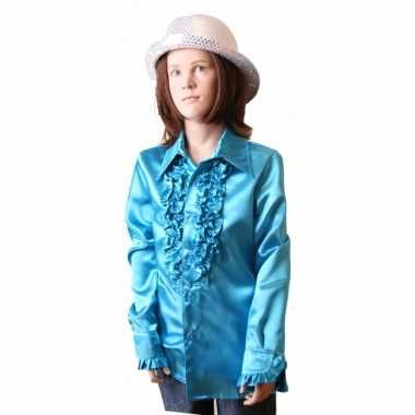 Foute rouche blouse meisjes blauw kleding