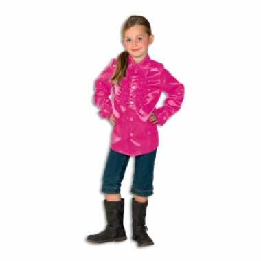 Foute rouche blouse meisjes roze kleding