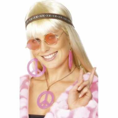 Foute roze hippie peace sieraden pakket kleding