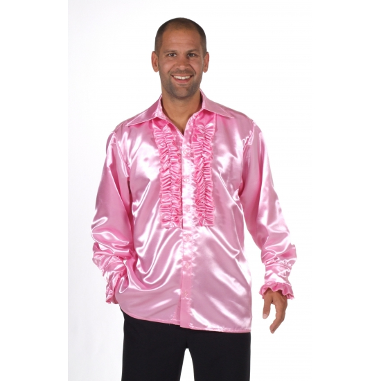 Foute satijnen roze blouse met rouches kleding