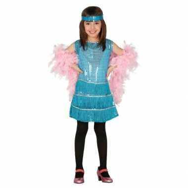 Foute showgirl jurk met blauwe pailletten kleding