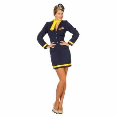 Foute stewardessjurkje blauw kleding