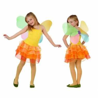 Foute vlinder jurk voor kinderen geel/oranje kleding