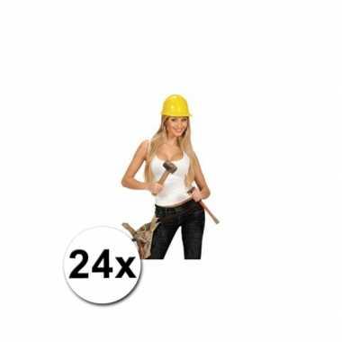 Foute werkhelmen geel volwassenen 24 st kleding