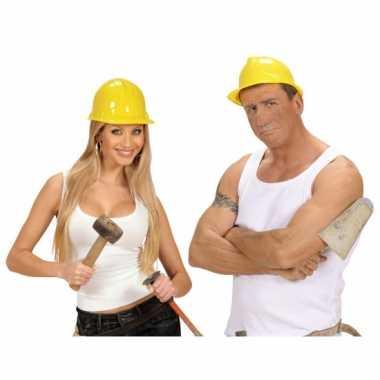 Foute werkhelmen geel volwassenen kleding