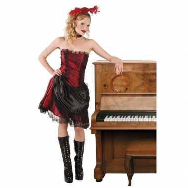Foute wild west saloongirls rood/zwart kleding