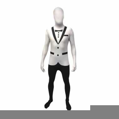Foute witte smoking morphsuit volwassenen kleding