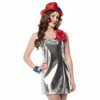 Foute zilveren disco jurkje van stretch kleding