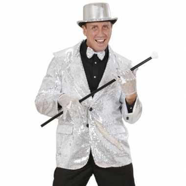 Foute zilveren glitter blazer kleding
