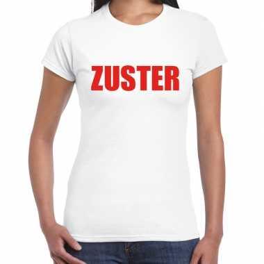 Foute zuster t-shirt wit voor dames kleding