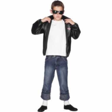Foute zwarte grease jas voor kinderen kleding