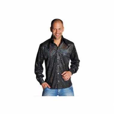 Foute zwarte seventies blouse heren kleding