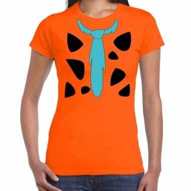 Fred holbewoner foute kleding t shirt oranje voor dames