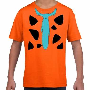 Fred holbewoner foute kleding t shirt oranje voor kinderen