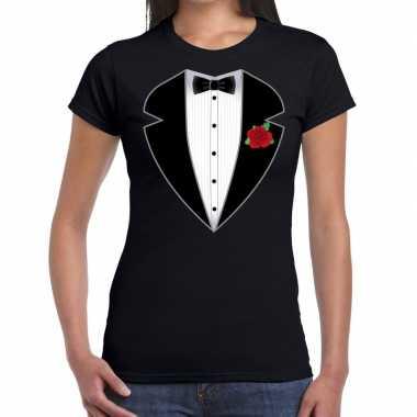 Gangster / maffia pak foute kleding t shirt zwart voor dames