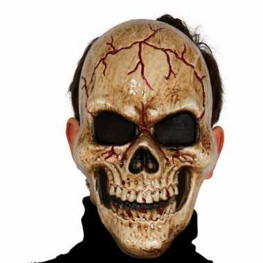 Gebarsten schedel masker voor skelet foute kleding