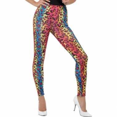 Gekleurde luipaardprint 80s legging foute kleding voor dames