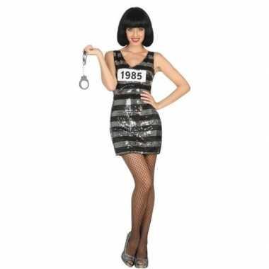 Gevangene/boef ann foute kleding/jurk zwart/zilver voor dames