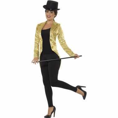Gouden slipjas met pailletten foute kleding/jas voor dames