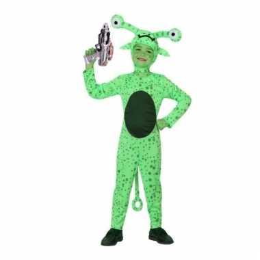 Groen alien foute kleding inclusief space gun voor kids