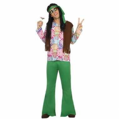 Groen/bruine hippie/flower power foute kleding voor heren