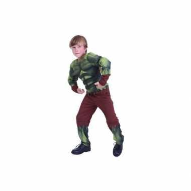 Groen gespierd monster foute kleding voor kids