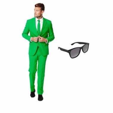 Groen heren foute kleding maat 50 (l) met gratis zonnebril