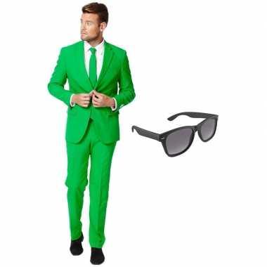 Groen heren foute kleding maat 54 (xxl) met gratis zonnebril