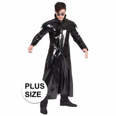 Grote maat 90s foute kleding gothic lakleren jas voor volwassenen