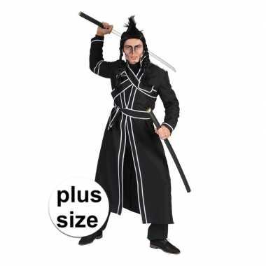 Grote maat zwart samoerai foute kleding voor heren