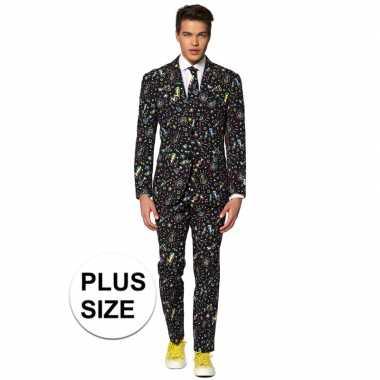 Grote maten heren pak/foute kleding disco print