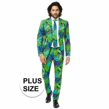Grote maten heren pak/foute kleding jungle print
