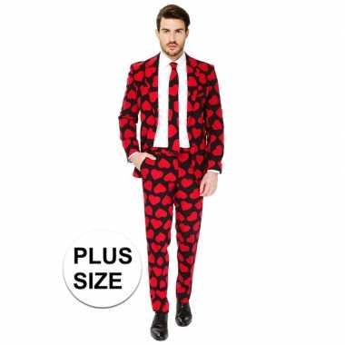 Grote maten heren pak/foute kleding rode hartjes print