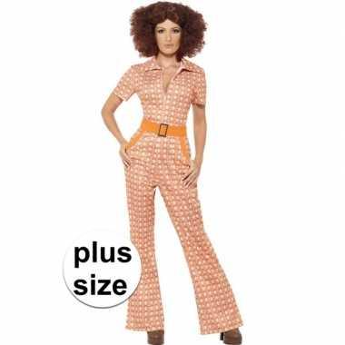 Grote maten oranje jaren 70 foute kleding voor dames