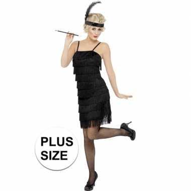 Grote maten zwart flapper jaren 20 foute kleding voor dames