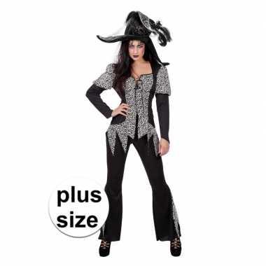Halloween grote maat zwart/wit heksen foute kleding voor dames
