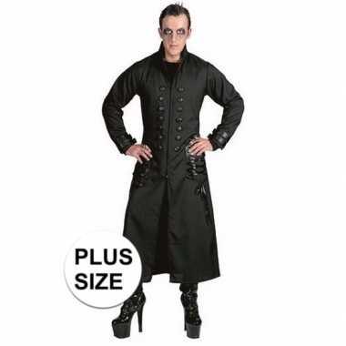 Halloween grote maten zwarte gothic/vampier jas foute kleding voor h