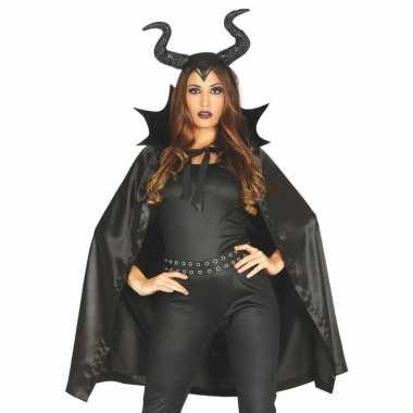 Halloween heks met hoorns halloween foute kleding cape voor dames