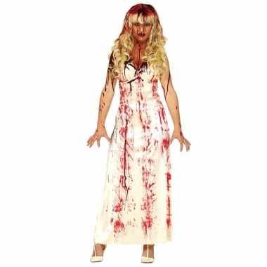 Halloween horror foute kleding lange bloederige witte jurk