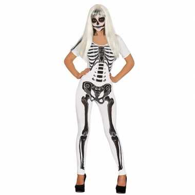 Halloween witte skelet catsuit foute kleding voor dames