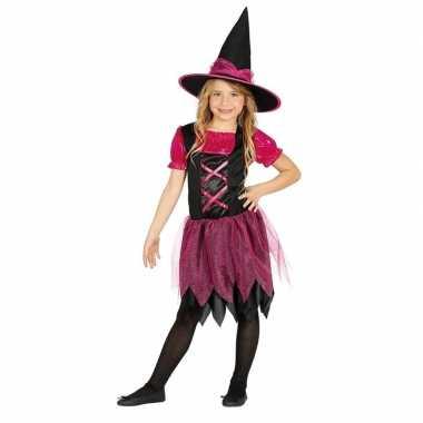 Halloween zwart/roze heksen foute kleding voor meisjes
